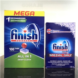 Combo: Viên rửa bát Finish All in one 100 viên + Muối Finish 1.2kg