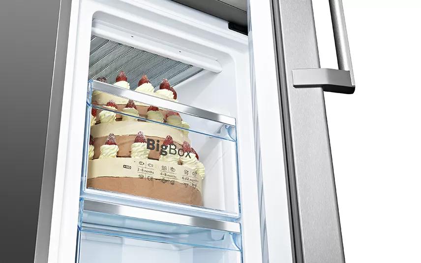 Nhiều không gian cho hàng đông lạnh XXL với ngăn thực phẩm đông lạnh BigBox.